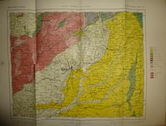 Mapa Geologico De Espana Ca. 1910 - Tercera Edicion - Segovia Madrid Guadalajara - Hoja N°28 - 40cm X 54cm - Maßstab 1:4 - Topographische Karten