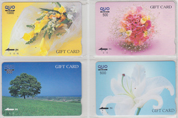 LOT De 4 Cartes Japon - FLEUR & ARBRE -  FLOWER & TREE Japan Prepaid Cards - Blume Quo Gift Karten - Carte Cadeau - 2015 - Phonecards