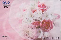 Rare Carte Prépayée Japon - FLEUR -  ROSE - FLOWER Japan Prepaid Card - Blume Quo Gift Karte - Carte Cadeau - 2019 - Fleurs
