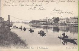 -- 78 --  FIN D'OISE -- LE PONT SUSPENDU -- ANIMATION -- 1904 - Conflans Saint Honorine