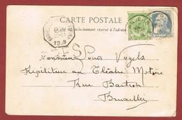 Express Kaart 25c Grove Baard  + 5 C. Van  Anvers Naar Telegraafkantoor Bruxelles Porte De Namur 1908 - Postmark Collection