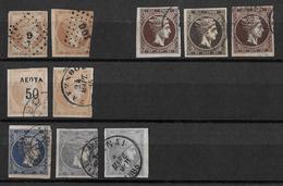 1861-86 Hermes, Gross → GREECE LARGE HERMES HEAD 2, 30, 40 L USED - 1861-86 Grands Hermes