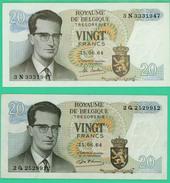 20 Francs - Belgique - 2 Billets - 15 06 64 - Spl - N° 2 Q 2529912  3N 3331947 - [ 6] Treasury