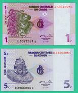 1 Et 2 C - Congo - 2 Billets - Neufs - N° A5097687  A - B3966206C - 1997 - - Republik Kongo (Kongo-Brazzaville)