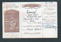 Militaria Office National Pupilles De La Nation.- Carte D'Identité Touzé Jean-Louis Né à St Germain En Laye Fils De... - Dokumente