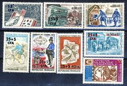 Reunion 1964 - 1974 Gli Otto Valori Della Serie Giornata Del Francobollo E Del Codice Postale VFA - MNH Cat. € 9.60 - Isola Di Rèunion (1852-1975)