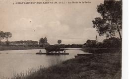 Châteauneuf-sur-Sarthe.. Animée Le Bac Traversée De La Sarthe Bac Péniche Gabare Batellerie Navigation Carte Rare - Chateauneuf Sur Sarthe