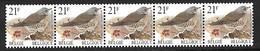 Belg. 1999 - COB N° R87/89 ** - Grive Litorne (en Bande De 5 + Numéro) - 2792 - Coil Stamps