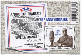 """La Feuille F4493 """"70ème ANNIVERSAIRE APPEL DU 18 JUIN"""" Luxe Bas Prix, A SAISIR. - Feuilles Complètes"""