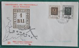 """ITALIA FDC 1959 """" CENTENARIO DEI FRANCOBOLLI DELLE ROMAGNE """"  VIAGGIATO PER ROMA - 6. 1946-.. República"""