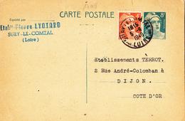 17118# MARIANNE GANDON ENTIER POSTAL Obl SURY LE COMTAL LOIRE 1949 DIJON COTE D' OR - Marcophilie (Lettres)