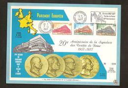Carte De Souvenir PARLEMENT EUROPEEN Cachets STRASBOURG 1977 Et CONSEIL DE L'EUROPE ; Etat Voir 2 Scan ! Inzet 15 € - Non Classés