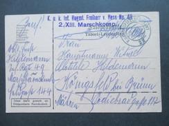 Österreich Feldpost 1915 K.u.K. Inf. Regmt. Freiherr V. Hess No 49 2./XIII Marschkomp. Hauptfeldpostamt 22 - 1850-1918 Imperium
