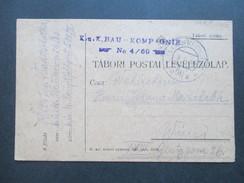 Österreich Feldpost 1918 K.u.K. Bau Kompagnie No 4/60 Hauptfeldpostamt 500 II. Oberlieutnant - Briefe U. Dokumente