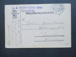 Österreich Feldpost 1916 K.u.K. Standschützen Baon Dornbirn. Feldpostamt 613 Mit Zeichnung Einer Hütte! - 1850-1918 Imperium