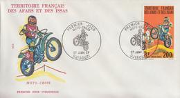 Enveloppe  FDC  1er  Jour  TERRITOIRE  FRANCAIS   Des   AFARS  Et  ISSAS     MOTO - CROSS    1976