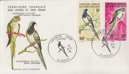 Enveloppe  FDC  1er  Jour  TERRITOIRE  FRANCAIS   Des   AFARS  Et  ISSAS   Oiseaux   1976