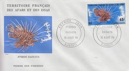 Enveloppe  FDC  1er  Jour  TERRITOIRE  FRANCAIS   Des   AFARS  Et  ISSAS   Poisson   1976
