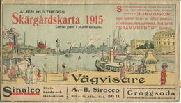 Skärgardskarta 1915 - Orienteringsplan Utgifven Af Albin Hultberg - 45cm X 60cm - Topographische Karten