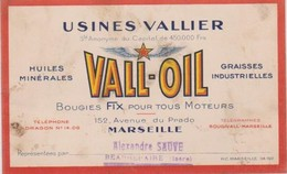 Carte De Visite Usines Vallier Vall-OIL Marseille (Bouches Du Rhône) Huiles Graisses Bougie Fix Sauve Beaurepaire (Isère - Visiting Cards