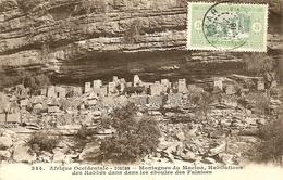 Afrique Occidentale, Soudan, Montagnes Macina, Habitations Des Habbés Dans Les Eboules Des Falaises. Oblitération 1916. - Soudan