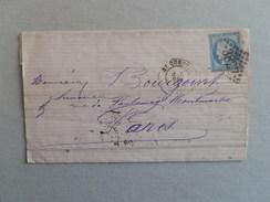 CERES DENTELE 60 SUR LETTRE DE ST QUENTIN A PARIS DU 5 DECEMBRE 1875 - Postmark Collection (Covers)