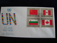 UNITED NATIONS FDC  1983 FLAGS CHINA CANADA