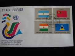 UNITED NATIONS FDC  1987  FLAGS  GREECE