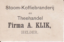 193784 Stoom-Koffiebranderij En Theehandel Firma A. Klik, Helder - Reklame