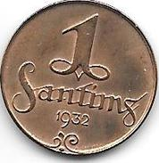 *latvia 1 Santimi 1932  Km 1  Unc !!!! - Lettonie