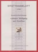 Allemagne  --  Johann Wolfgang Von Goethe --  4/1982 - FDC: Feuilles