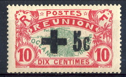 Reunion 1915-16 N. 8 C. 5 Su C. 10 Sovrastampa Nera MH Cat. € 200 - Unused Stamps