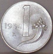 ITALIA - 1 Lira 1958 Cornucopia ALTA CONSERVAZIONE - VEDI FOTO - 1946-… : Repubblica