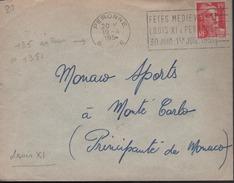 """Lettre Flamme Secap Peronne 19 -4 195* (1951) """" Fetes Médiévales Louis XI A Peronne 30 Juin 1951 """" - Postmark Collection (Covers)"""