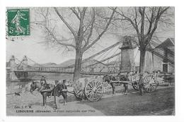 LIBOURNE  (cpa 33)   Pont Suspendu Sur L'Isle - Charretiers -   - L 1 - Libourne