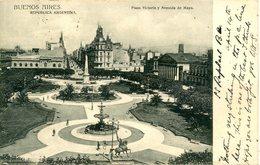 ARGENTINA - BUENOS AIRES - PLAZA VICTORIA Y AVENIDA DE MAYO 1908 Arg208 - Argentina