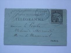 FRANCE 1890 TELEGRAMME - Av. Friedland Paris - France