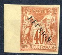 Reunion 1891 N. 14B C. 40 Rosso Arancio MVLH Bordo Di Foglio Cat. € 60 - Unused Stamps