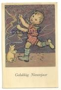 Gelukkig Nieuwjaar. Petit Garçon, Cochon, Confettis Et Serpentins. 1943. SUPRA 39 - New Year