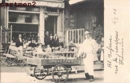 """RARE CPA : FRAMERIES CAFE DEVANTURE """" A LA FLEUR DE BLE """" MARCHAND DE CREVETTES BOULEVARD DUFRANE RUE DE JEMAPPES 1900 - Frameries"""