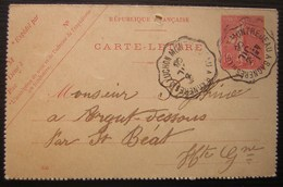 1906 Montréjeau à Bagnères De Luchon Sur Carte Lettre, Commande De Roquefort - Postmark Collection (Covers)