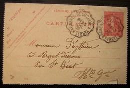 1906 Bagnères De Luchon à Tarbes Sur Carte Lettre, Commande De Roquefort - Postmark Collection (Covers)