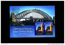 AUSTRALIA - 2007 SYDNEY HARBOUR BRIDGE MS OVPT SYDNEY STAMP EXPO IN GOLD MINT NH - Blocchi & Foglietti