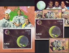 Flight To Moon US-Raumfahrt 1972 Adschman 340,1116,Block 68+319 O 20€ Apollo 15 Astronauten Blocs Space Sheets Bf V - Space