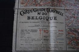 CARTE SUR TOILE DE LA BELGIQUE CAMPBELL N°20  +- 1930 - Cartes Routières