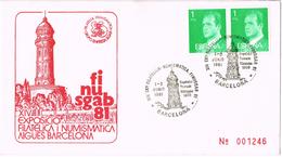 22043. Carta Exposicion BARCELONA 1981. FINUSGAB, Aguas Barcelona. Deposito Torreon TIBIDABO - 1931-Hoy: 2ª República - ... Juan Carlos I