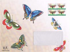 Spanien Ganzsachenumschlag - Schmetterlinge, Mariposa - 4 Marken Im Wertstempel, Gelaufen Aber Ungestempelt - Ganzsachen