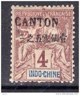 Canton N° 19 X  Surcharge Noire :  4 C. Lilas-brun Sur Gris  Trace De Charnière, TB