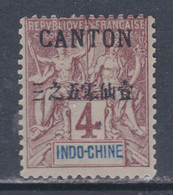 Canton N° 19 (.)  Surcharge Noire :  4 C. Lilas-brun Sur Gris Neuf Sans Gomme Sinon TB