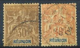 Reunion 1892 N. 30 Bruno E N. 41 C. 40 Rosso-arancio Usati Cat. € 35 - Used Stamps